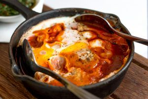 Shakshuka Breakfast at Honey and Co in London England