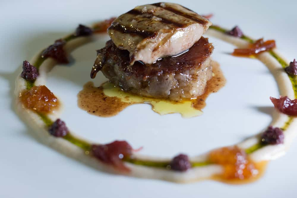 Foie Gras over Pig Trotter at Ca l'Arpa - Where to Eat in Girona Spain - A Girona Food Guide