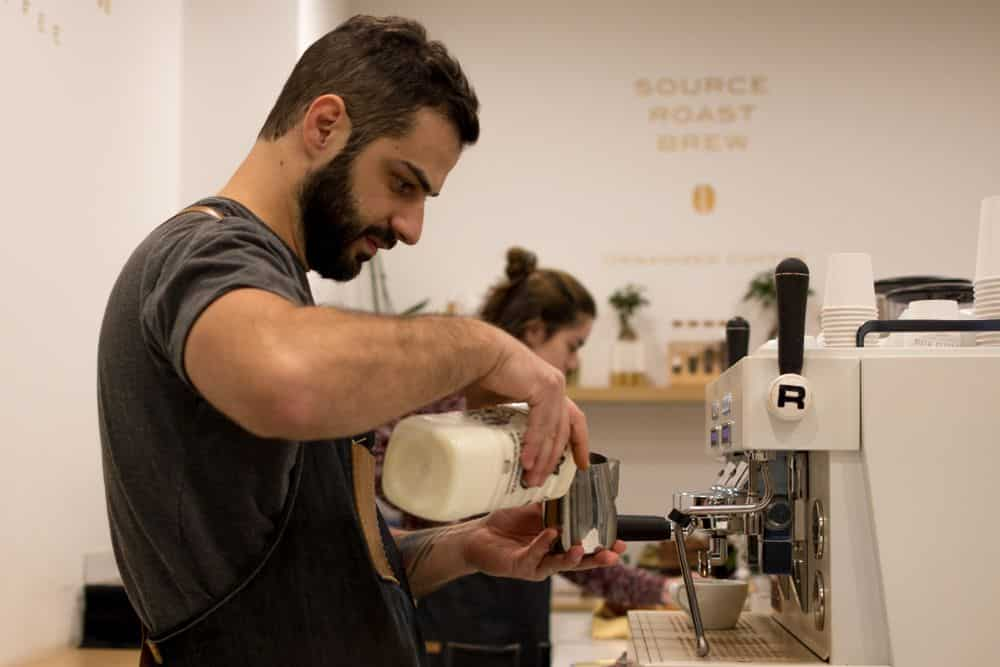 Barista at Espresso Mafia in Girona Spain