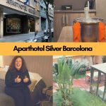Pinterest image: four images of Barcelona with caption 'Eat Around the 'Aparthotel Silver Barcelona'