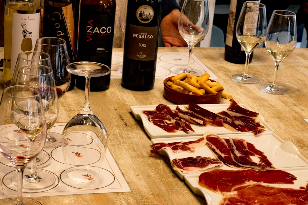 Ham and Wine in Barcelona Spain