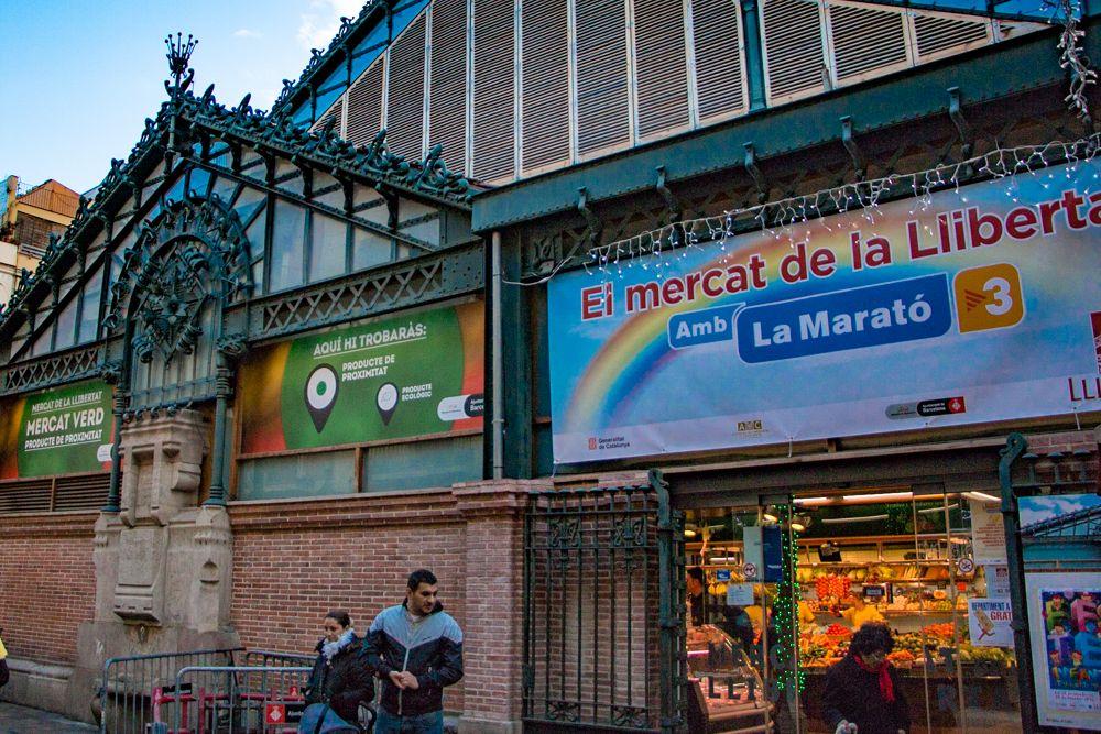 Mercat de l'Abaceria Central in Barcelona Spain