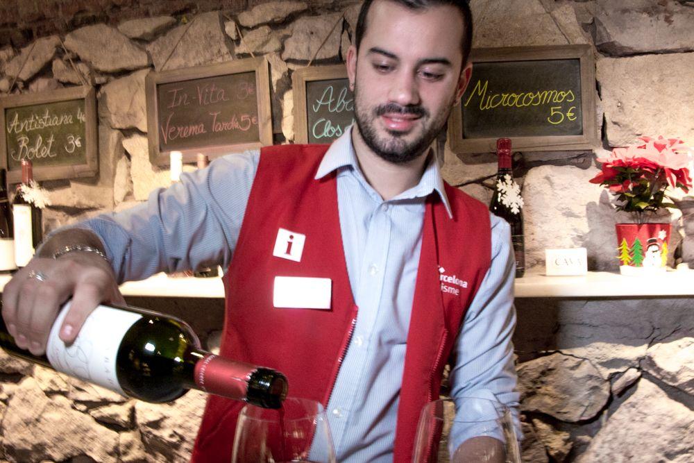 Wine Tasting inside Mirador de Colon in Barcelona Spain