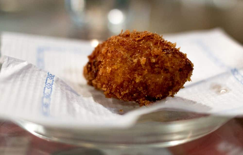Spanish Croquette on the Devour Barcelona Tapas and Wine Tasting Tour