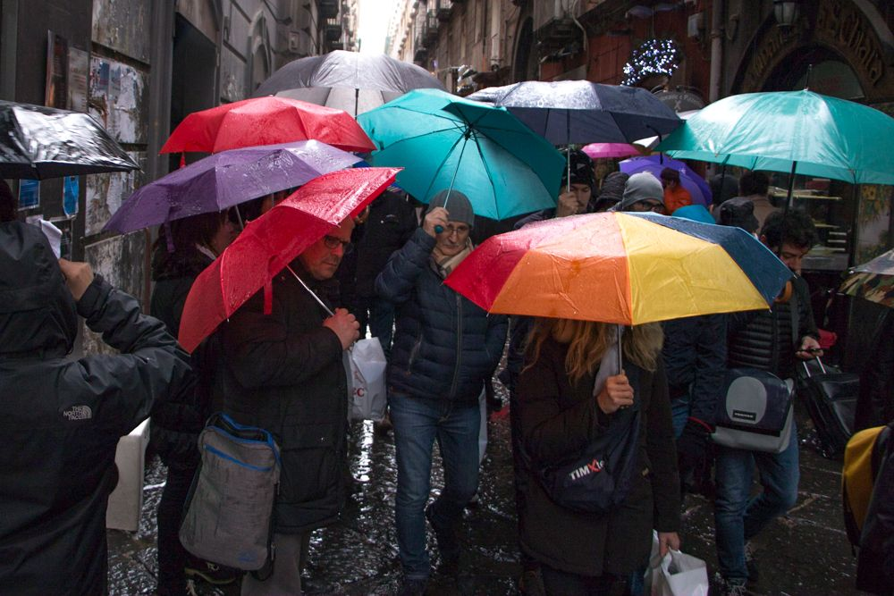 Naples Umbrella Street Scene - Awesome Naples Walking Tour with Coffee and Pizza