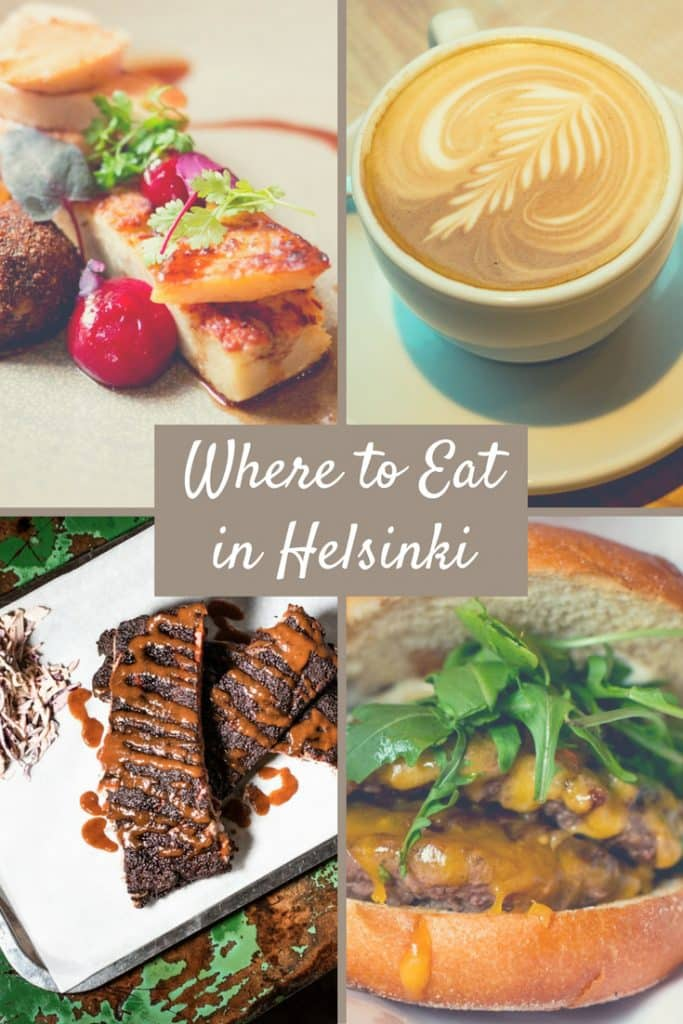 Pinterest image: four images of Helsinki food with caption reading 'Where to Eat in Helsinki'