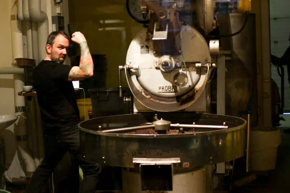 Alan Grosvenor at Kaffa Roastery in Helsinki Finland