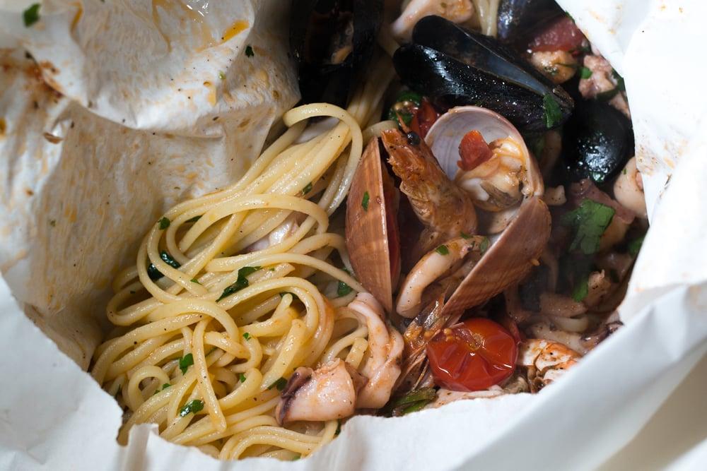 Linguine al Cartoccio with Seafood in Naples Italy