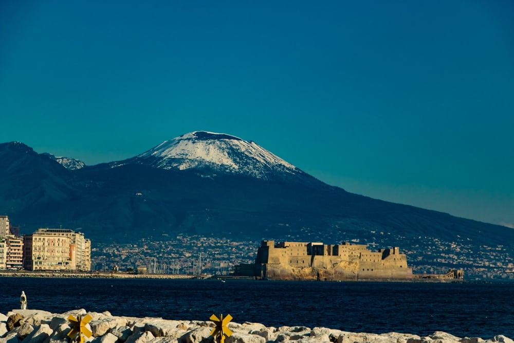 View of Mount Vesuvius from Naples Italy