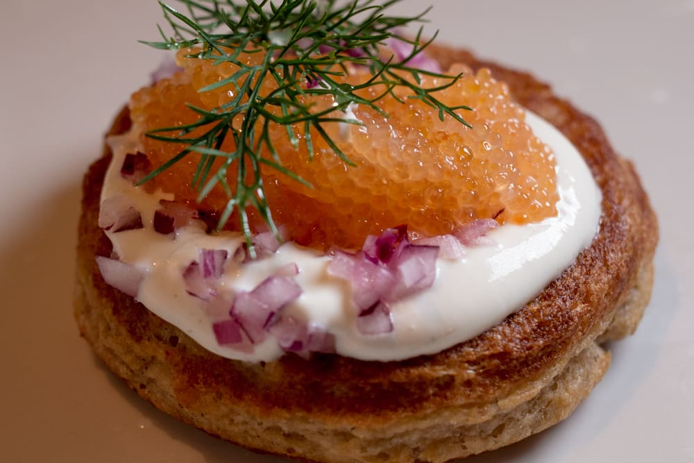 Buckwheat Blini with White Fish Roe at Cafe Moon in Tallinn Estonia - Tallinn Food Guide