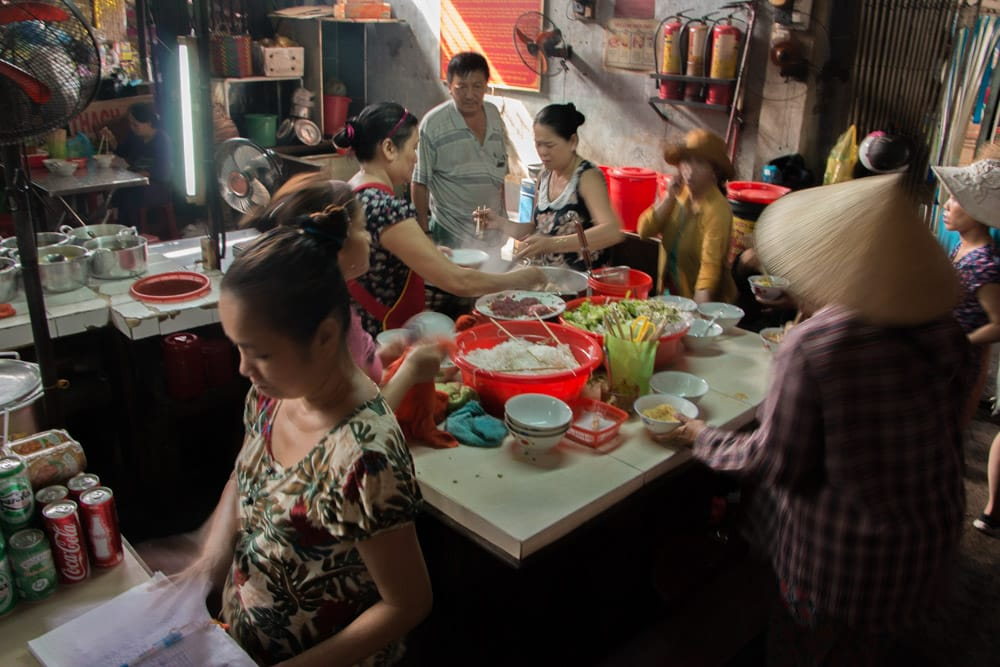 Family Food Stand at the Dong Ba Market in Hue Vietnam