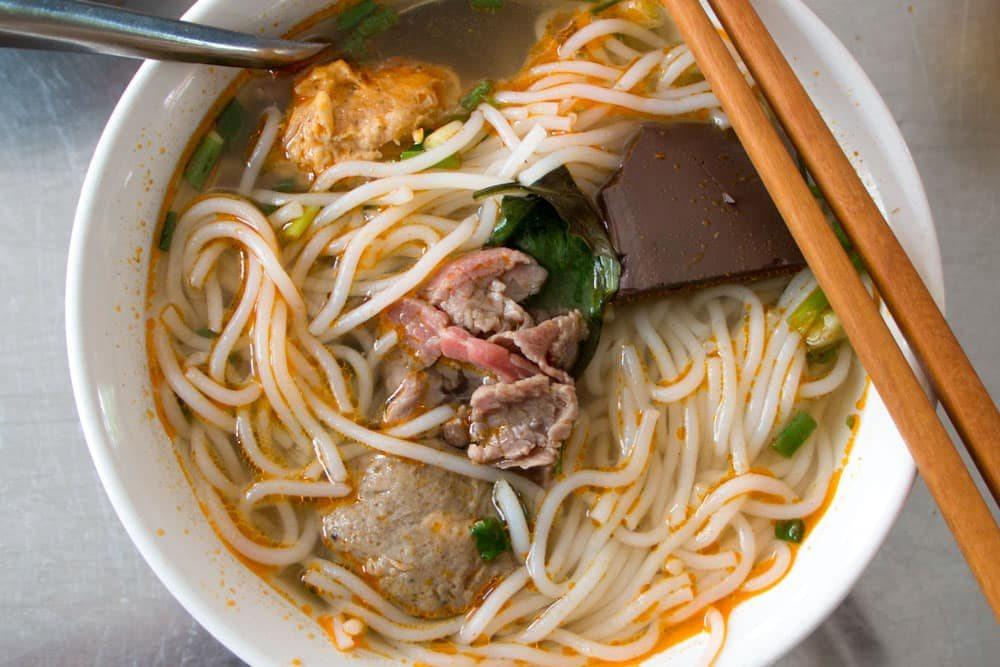 Bun Bo Hue at Bo Hue Quan Cam in Hue Vietnam - Spicy Noodle Soup