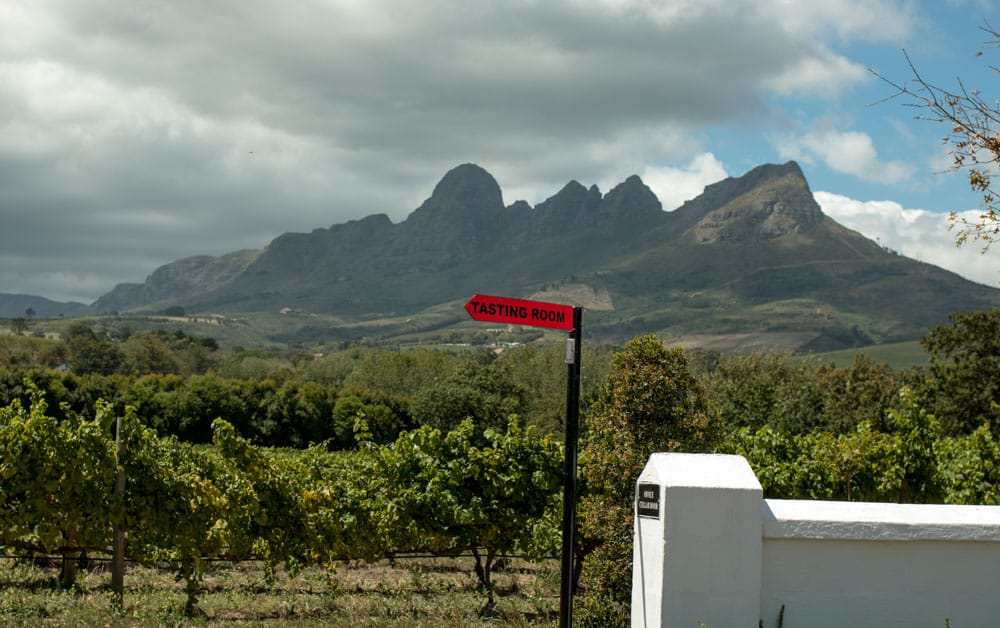 Ken Forrester Wines Tasting Sign in Stellenbosch South Africa