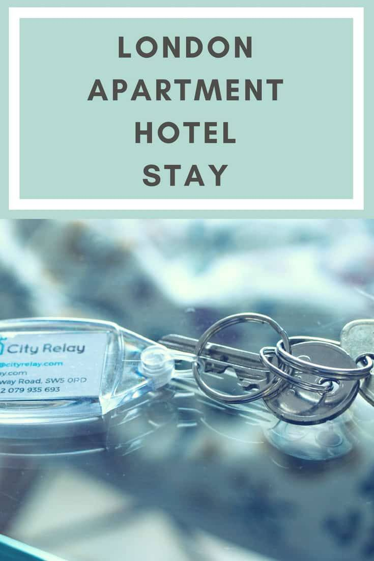 Pinterest image: image of keys with caption 'London Apartment Hotel Stay'