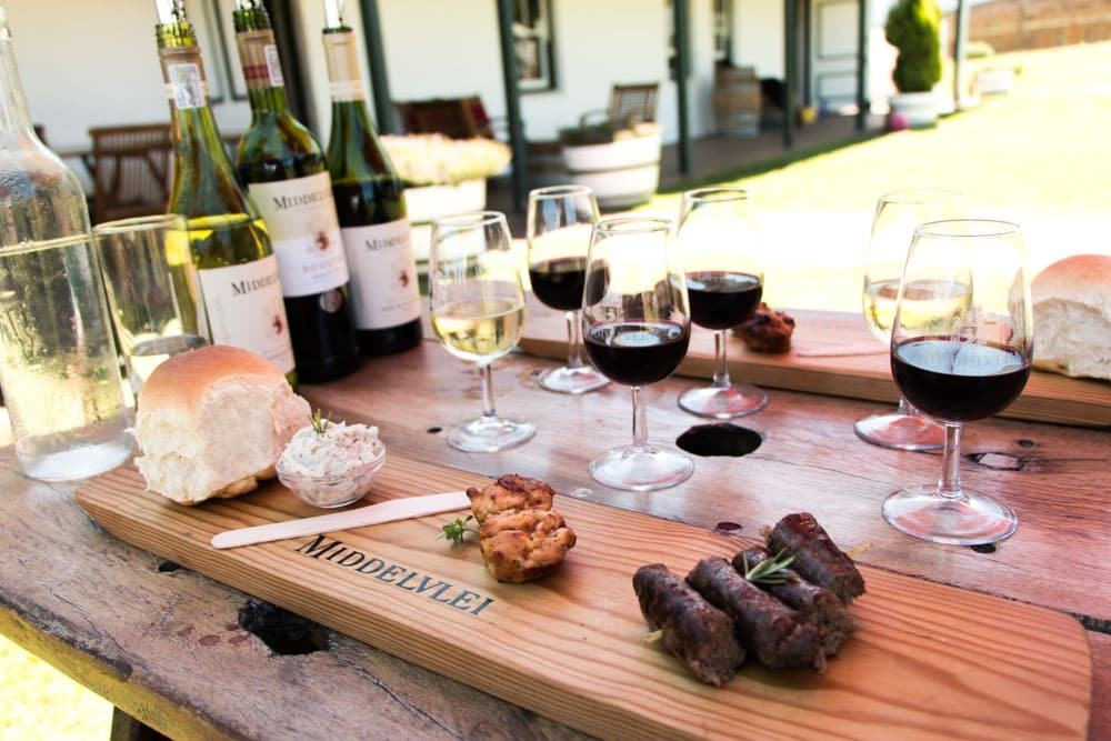 Wine Tasting Spread at Middelvlei Wine Estate in Stellenbosch South Africa