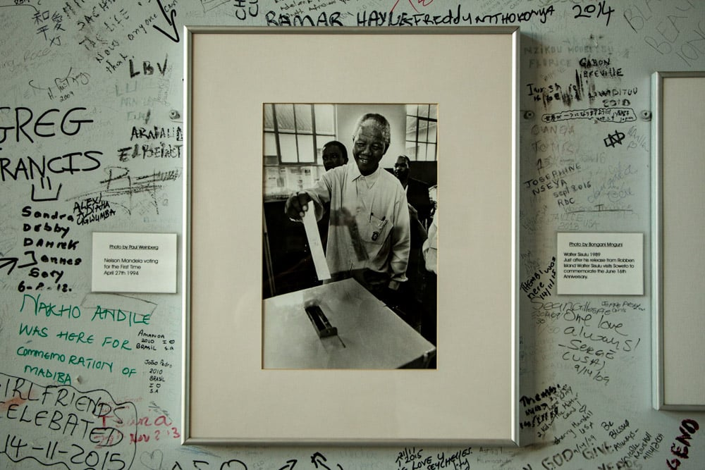 Photo of Nelson Mandela at the Regina Mundi Church in Soweto South Africa