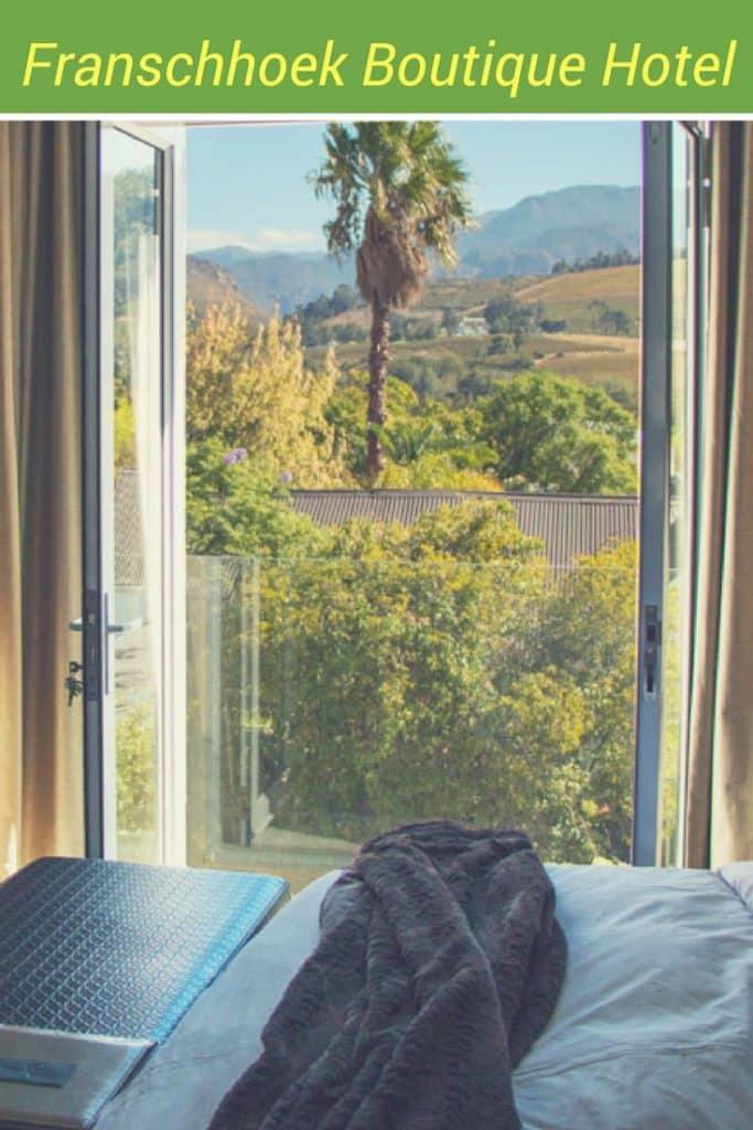 Pinterest image: image of hotel room with caption 'Franschhoek Boutique Hotelt'