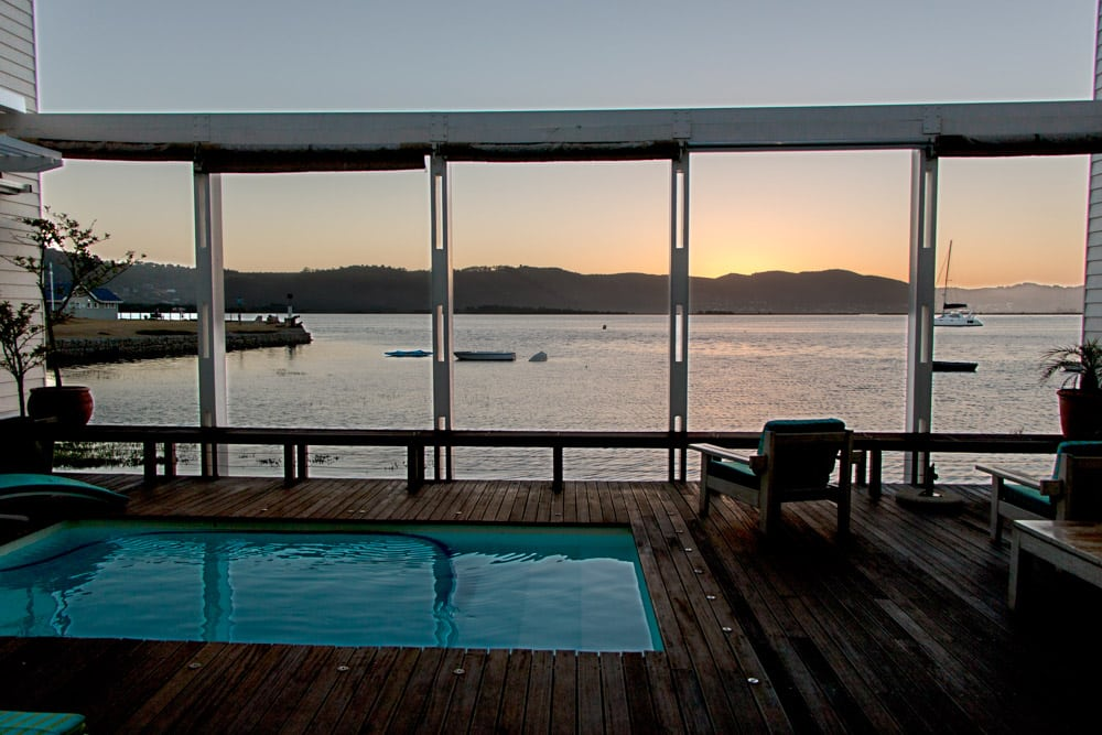 Splash Pool Sunset at The Lofts Boutique Hotel on Thesen Island in Knysna South Africa