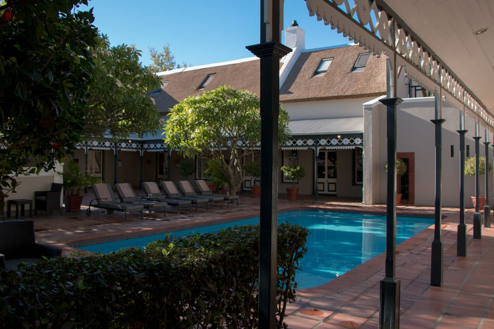 Pool at the Grande Roche Hotel in Paarl South Africa