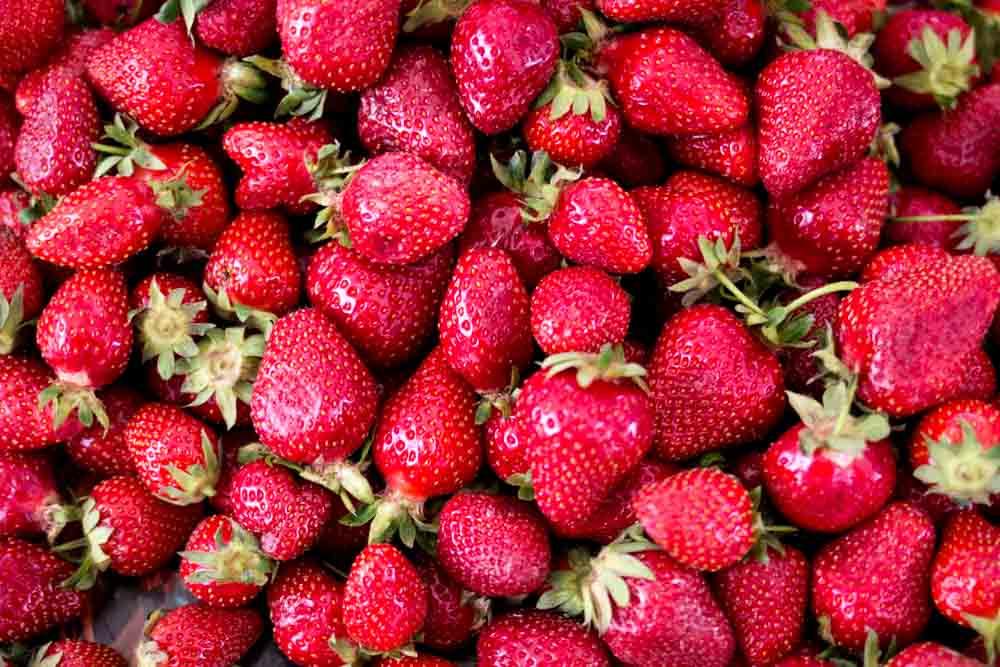 Strawberries at Piata Obor in Bucharest Romania