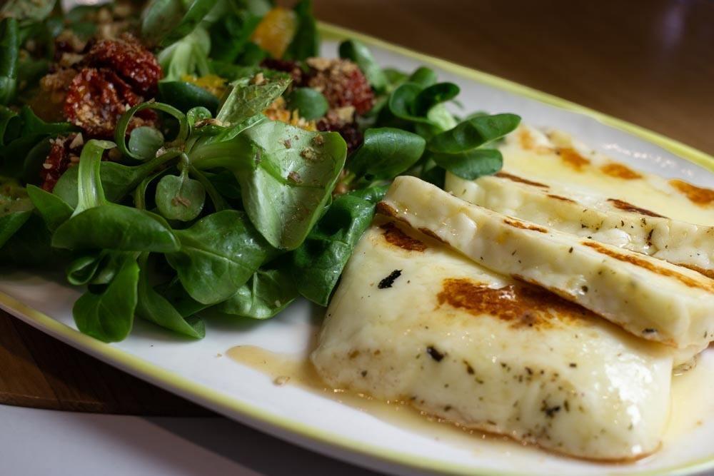 Grilled Halloumi Salad at Trofic in Bucharest Romania