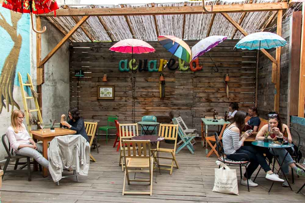 Umbrellas at Acuarela Cafe in Bucharest Romania