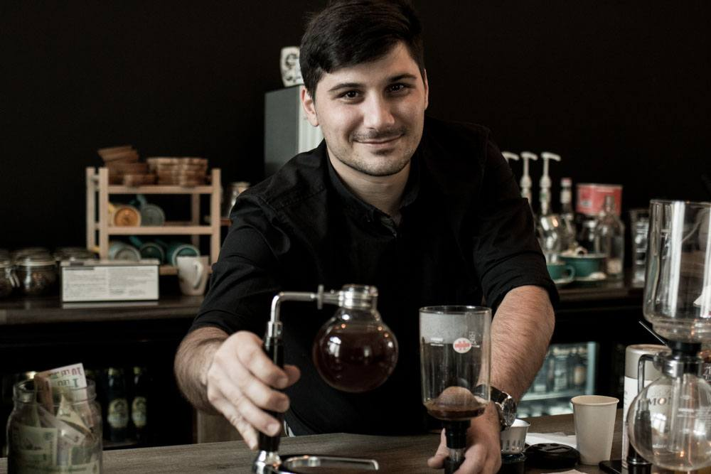 Barista Dumitrescu Marian Laurentiu at Coftale in Bucharest Romania
