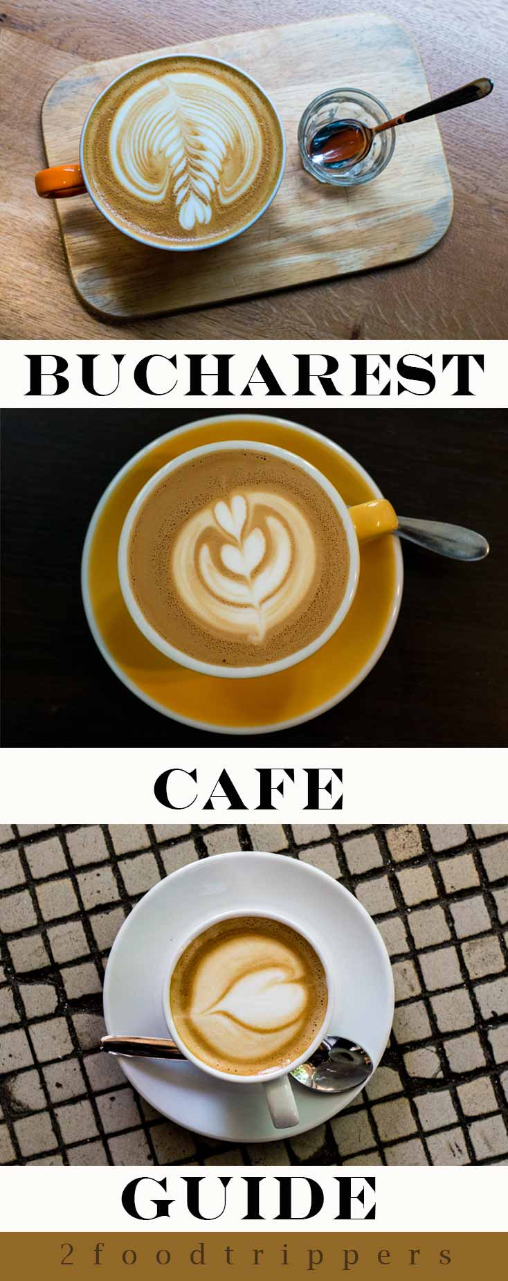 Pinterest image: three images of Bucharest coffee with caption reading 'Bucharest Cafe Guide'