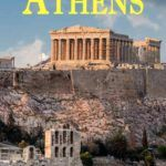 Pinterest image: image of Acropolis in Athens with caption reading 'Eating in Athens'