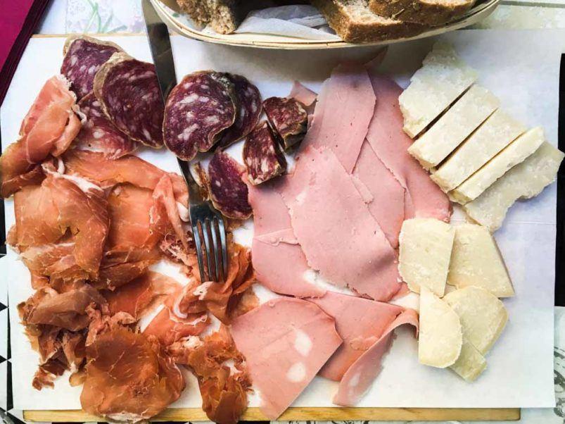 Aperitivo Plate at La Bottega Di Via Montegrappa in Bologna Italy
