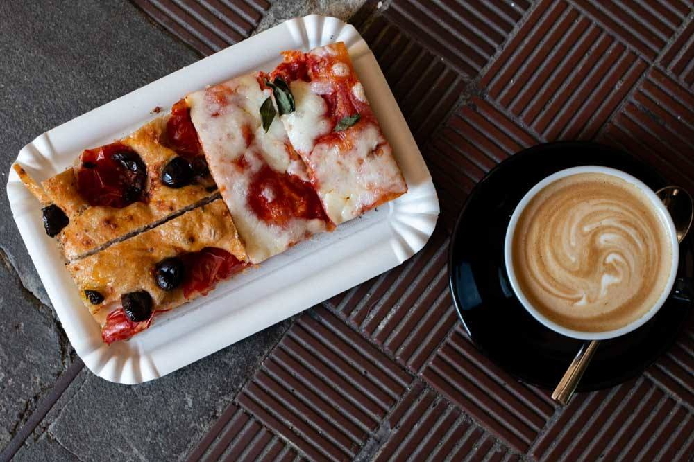 Pizza and Coffee at at Forno Brisa in Bologna Italy
