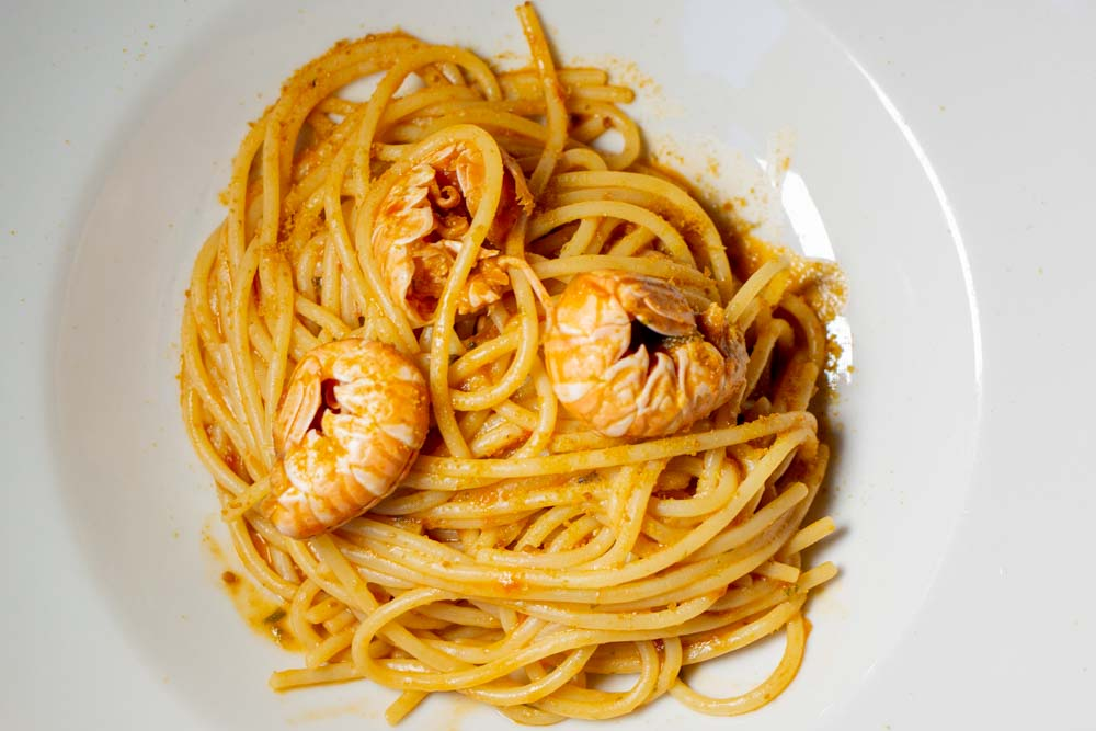 Spaghetti with Bottarga and Langoustines at Sette Tavoli in Bologna Italy