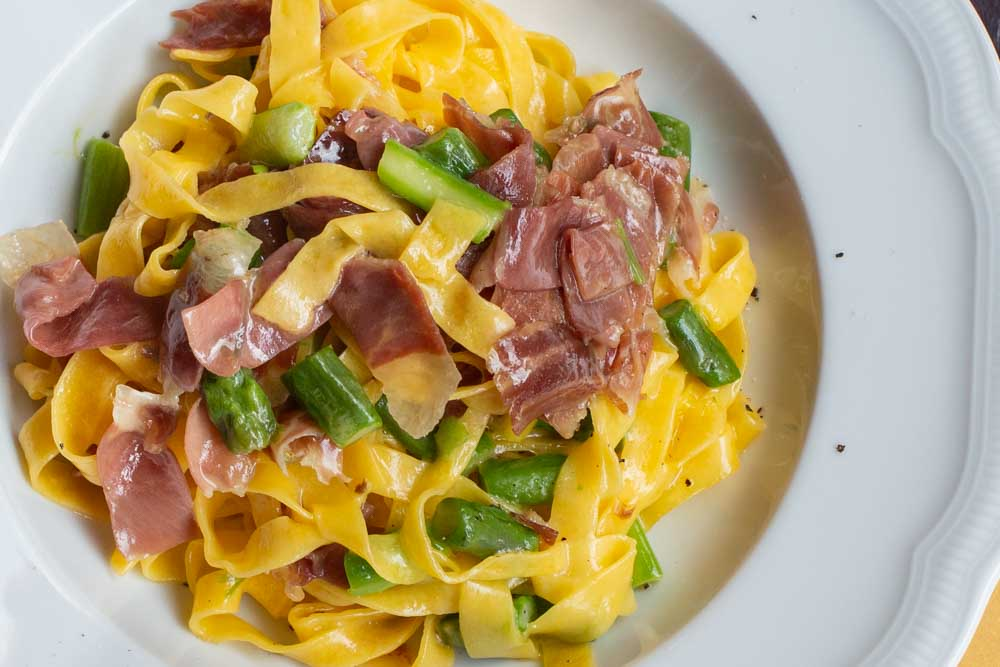 Tagliatelle with Culatello at All_Osteria Bottega in Bologna Italy