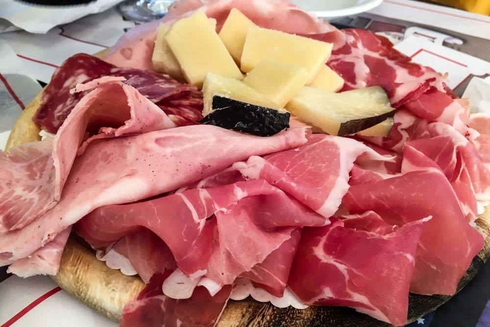 Salumi and Cheese at Tamburini in Bologna Italy