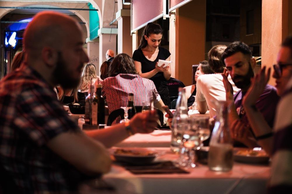 Outdoor Dining at Trattoria del Rosso in Bologna Italy