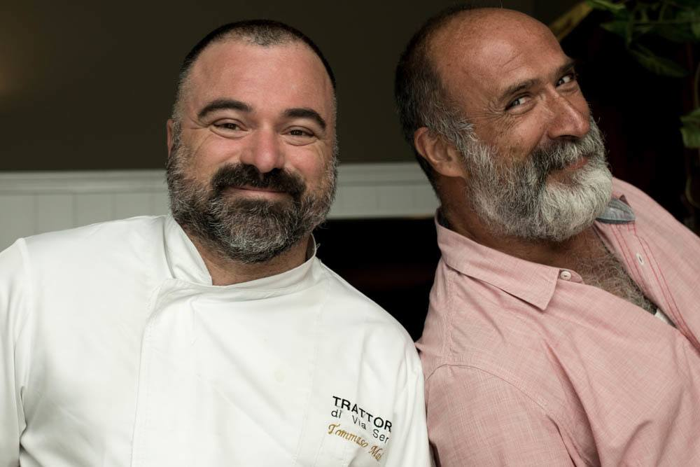 Flavio Benassi and Chef Tommaso Maio at Trattoria di Via Serra in Bologna Italy