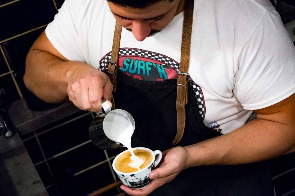 Barista at Vinyl and Wood in Budapest Hungary