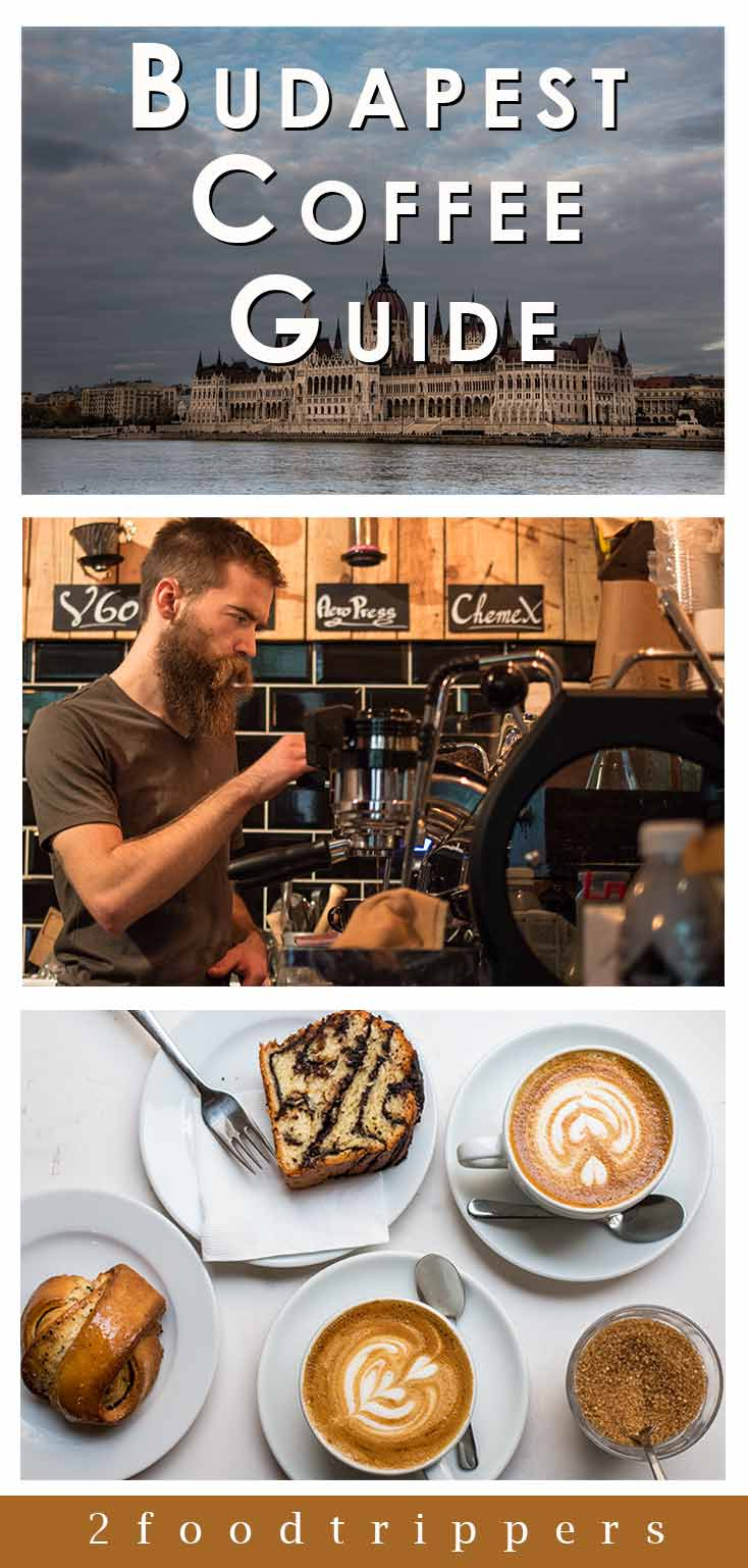 Pinterest image: three images of Budapest cafes with caption reading 'Budapest Coffee Guide'