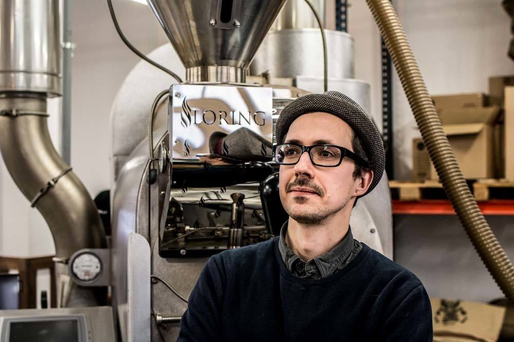 Head Roaster Martins Drungils at Rocket Bean Roastery in Riga Latvia