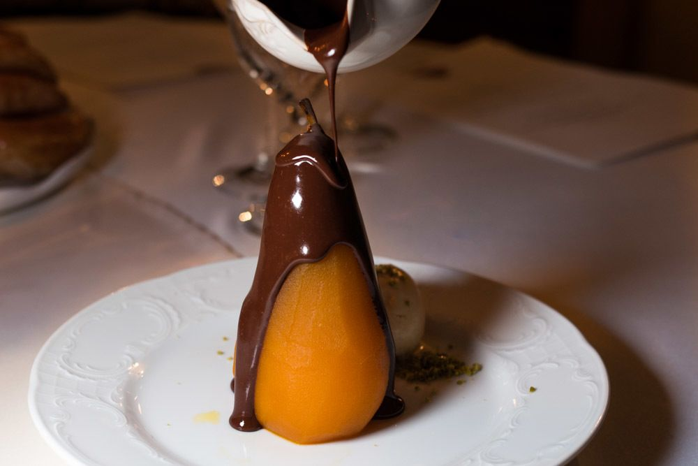 Pear Belle Helene Dessert at Liepupe Manor in Latvia