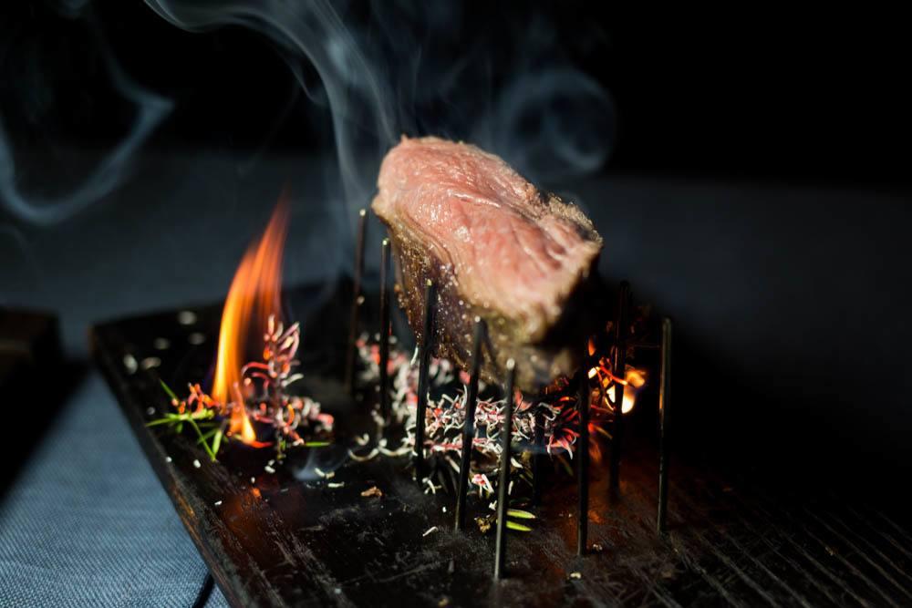 Flaming Steak at Restaurant 3 - Riga Restaurants