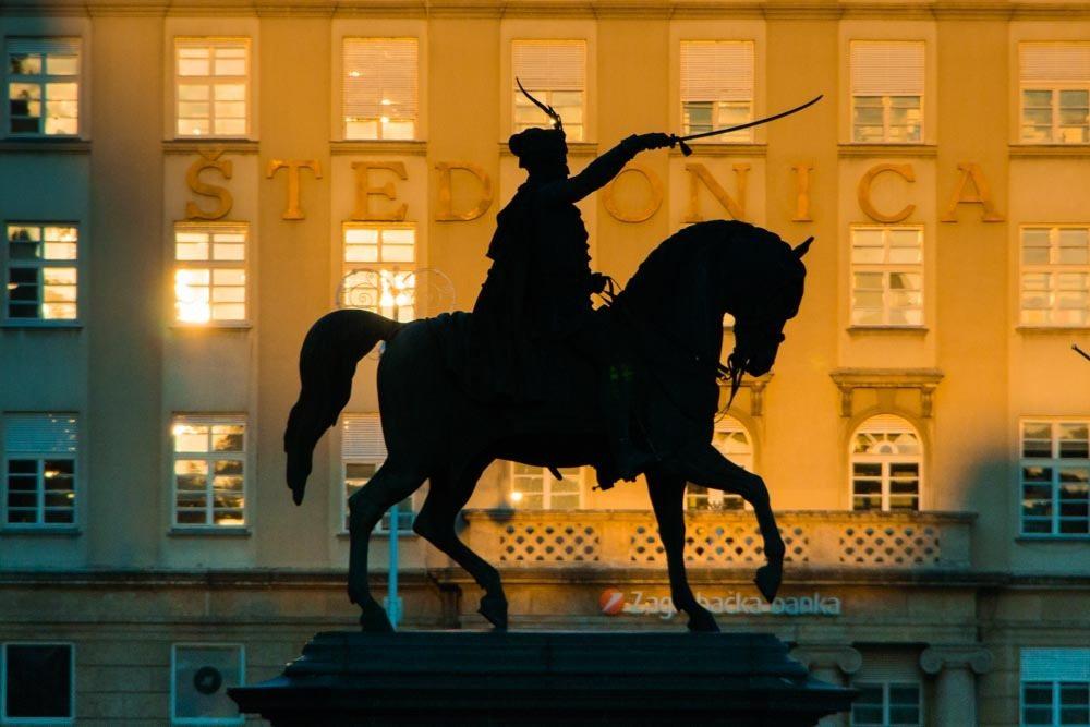 Ban Josip Jelacic Square in Zagreb Croatia