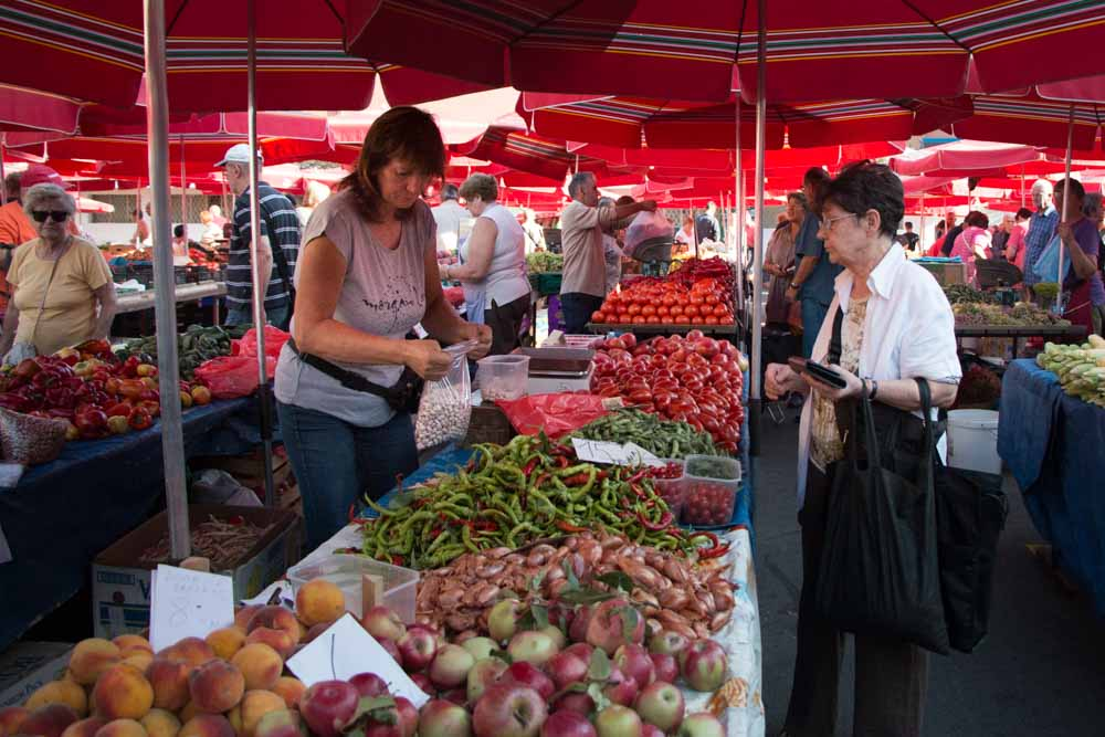 Vendors at Dolac Market in Zagreb Croatia