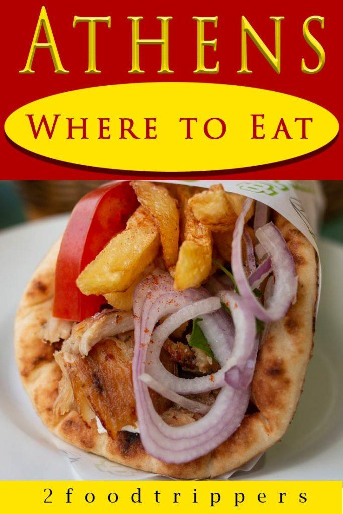 Pinterest image: image of souvlaki in Athens with caption reading 'Athens Where to Eat'
