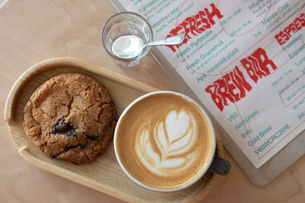 Cookie and Cappuccino at BOB Coffee Lab in Bucharest Romania