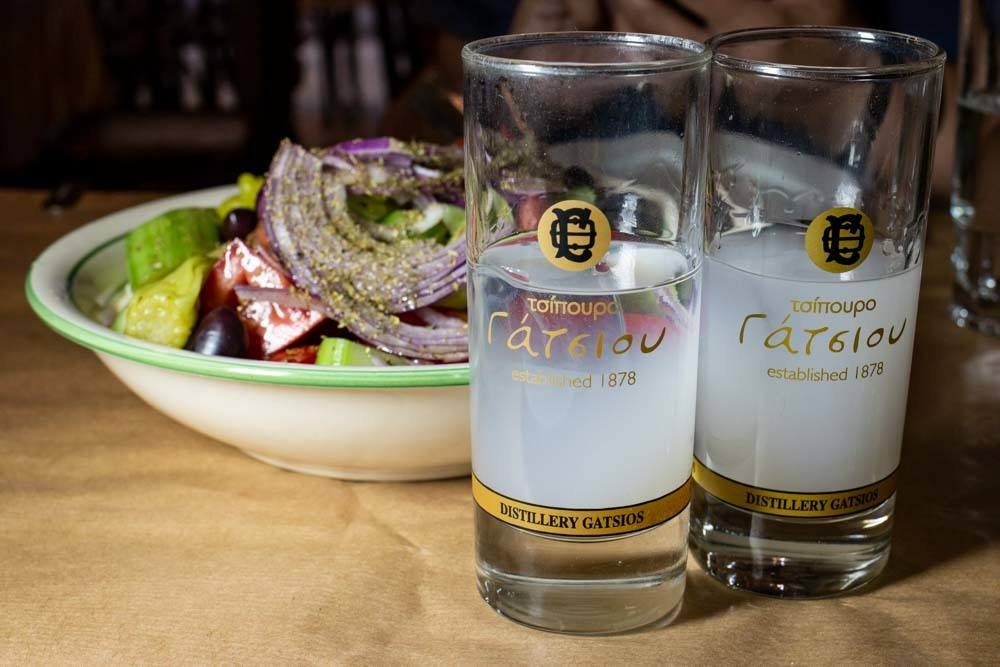 Ouzo and Salad at Ouzeri Lesvos in Athens Greece - Athens Restaurants