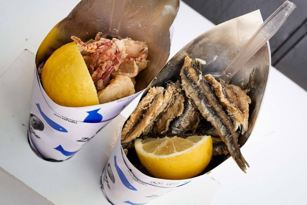 Seafood Cones at Zisis in Athens Greece - Athens Restaurants