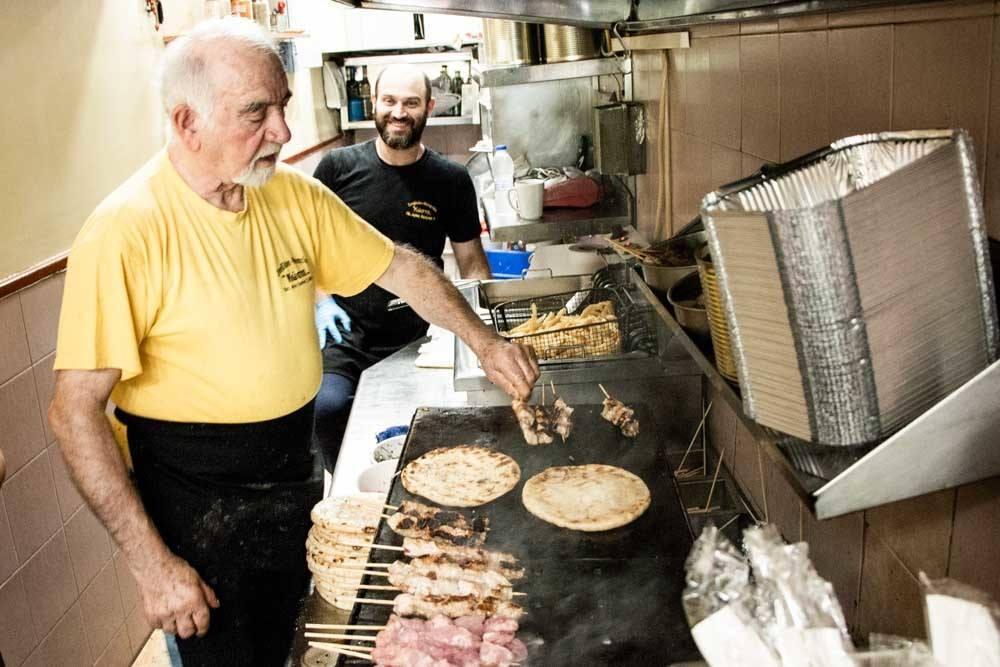 Greek Souvlaki Grill at Kostas in Athens Greece