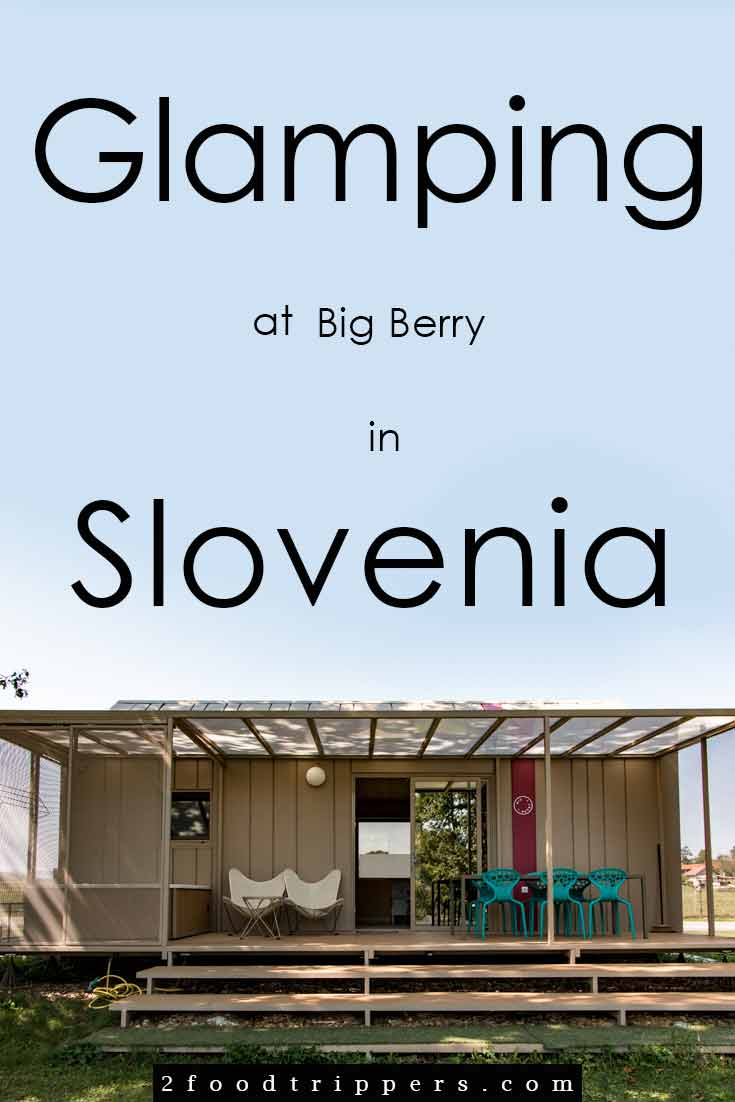 Pinterest image: image of Big Berry with caption 'Glamping at Big Berry in Slovenia'