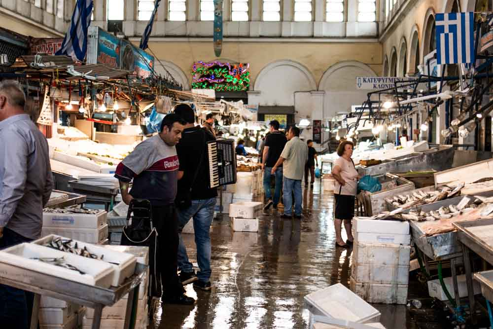 Varvakios Seafood Market in Athens Greece